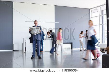 Elegant businessman wait for business class plain at airport
