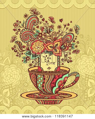Zen-doodle cup of tea with flowers red  yellow green on beige background
