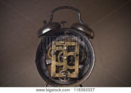 Exposed Old Clock Mechanism