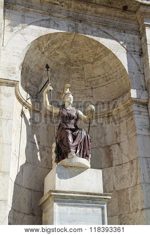 "Sculpture Of The Goddess Minerva - ""jubilant Rome."" Palace Of The Senators. Rome, Italy"