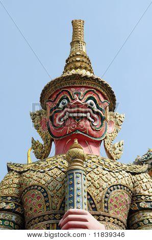 Giant Statue In Traditonal Thai Style At Wat Phra Kaew
