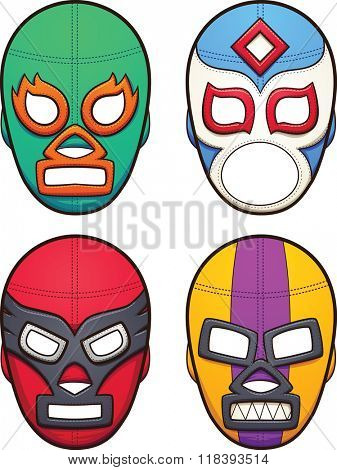 Mexican wrestling masks. Vector clip art illustration with simple gradients. All in a single layer.
