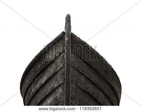Front View Of An Old Fishing Wood Boat