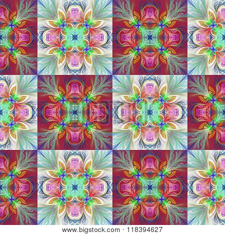 Two-tone Seamless Flower Pattern In Stained-glass Window Style. You Can Use It For Invitations, Note