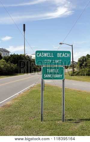Caswell Beach Turtle Sanctuary Sign