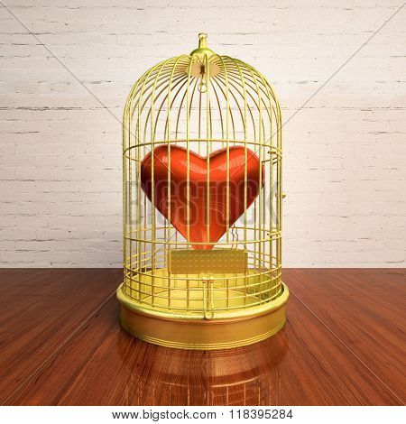 Heart inside the bird Cage. Love/romance concept