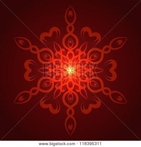 Vector geometric red glow mandala