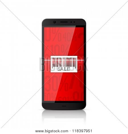 Mobile marketing and online shopping. Smartphone scanning barcode