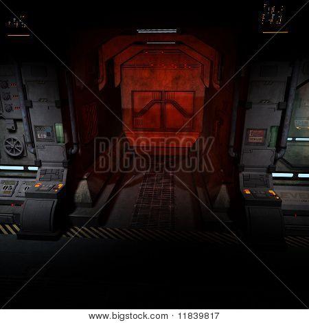 dark corridor on a spaceship.