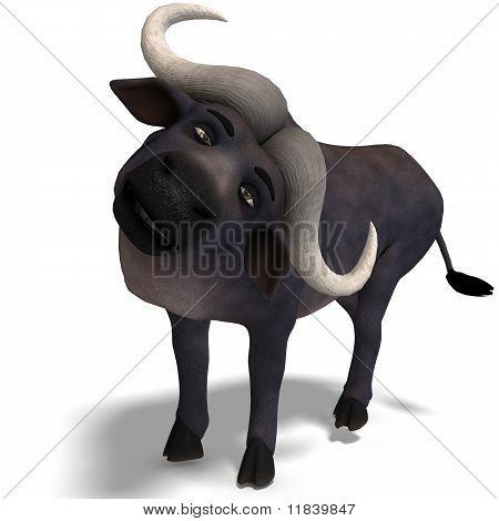 búfalo de dibujos animados muy lindo y divertido