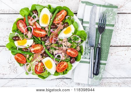 Homemade Salad Nicoise With Tuna, Anchovies, Tomatoes