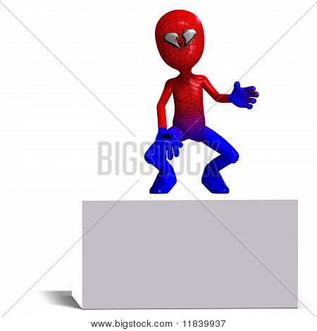 funny cartoon hero that crawls like a spider