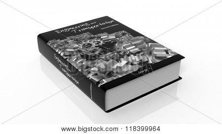 Hardcover book Engineering and Transportation with illustration on cover, isolated on white background.