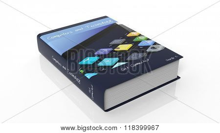 Hardcover book on Computer and Technology with illustration on cover, isolated on white background.
