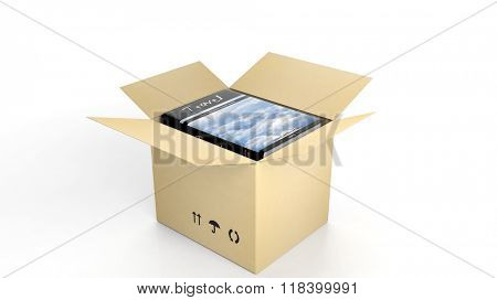 Book on Travel with illustrated cover inside an open cardboard box, on white background.