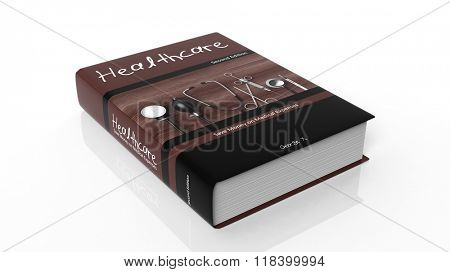 Hardcover book on Healthcare with illustration on cover, isolated on white background.