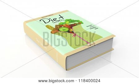 Hardcover book Diet Secrets with illustration on cover, isolated on white background.