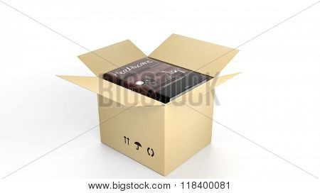 Book on Healthcare with illustrated cover inside an open cardboard box, on white background.