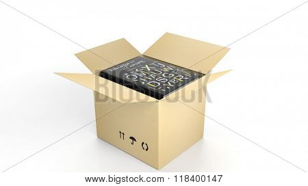 Book on Education and Teaching with illustrated cover inside an open cardboard box, on white background.