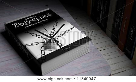 Hardcover book on Famous Biographies with illustration on cover, on wooden surface.