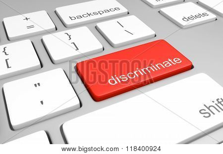 Discriminate key on a computer keyboard representing ease of online prejudice
