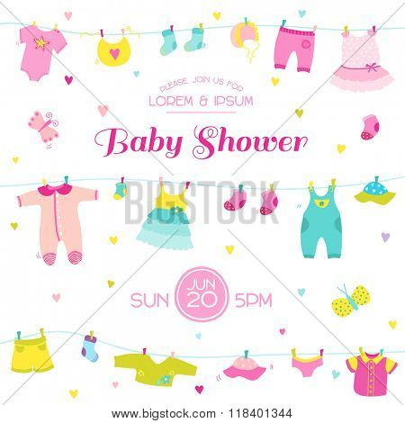 Baby Shower or Arrival Card - Cute Baby Girl Elements - in vector
