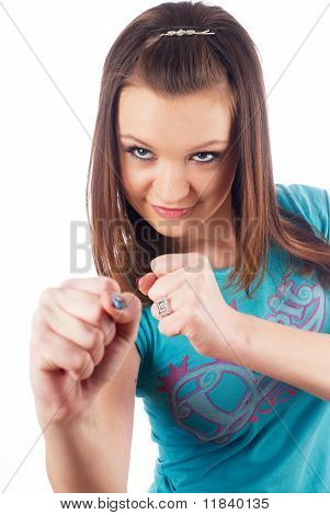 Girl with fists