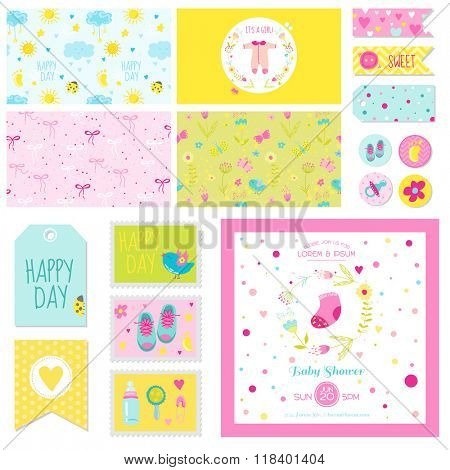 Baby Shower Little Girl Set - for Party, Baby Shower, Scrapbook, Birthday - in vector