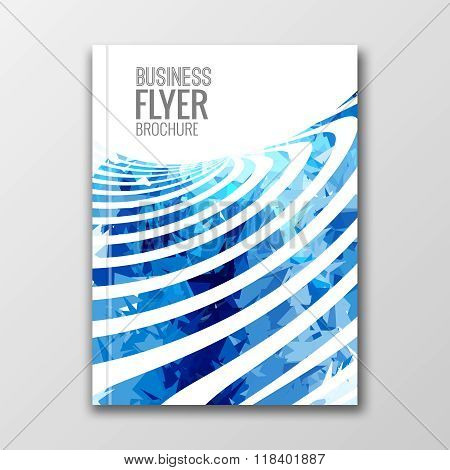 Cover Report Business Colorful blue Stripes Triangle Polygonal Geometric pattern Design Background,