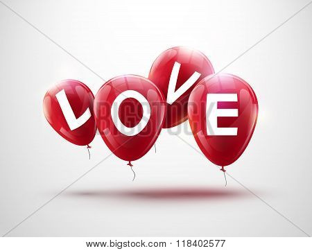 Flying balloons, concept of LOVE for celebrating valentine or other holiday. Four red flying party b