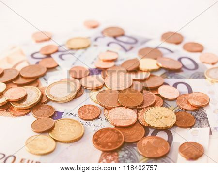 Euros Coins And Notes Vintage