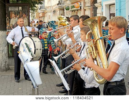 Brass Band Of Pupils And Their Teacher