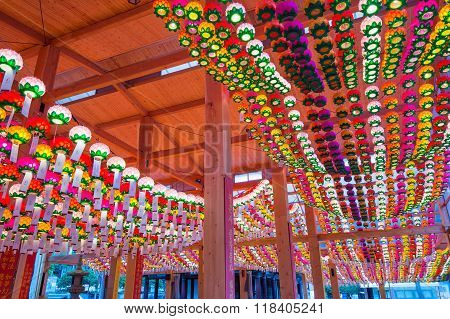 Bongeunsa Temple with hanging lanterns for celebrating the Buddha's birthday on May.