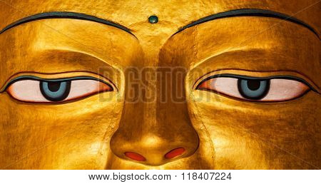 Panoramic image of Sakyamuni Buddha statue face close up in Shey gompa (Tibetan Buddhist monastery). Shey, Ladakh, India