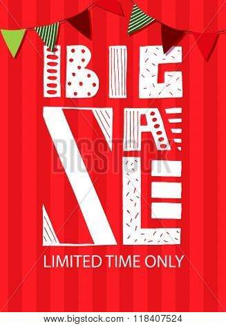 Big Sale Lettering Typography Banner, Flyer Template