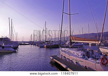 Sunset In The Nautical Smaller Boats Port. Trieste, Italy 7