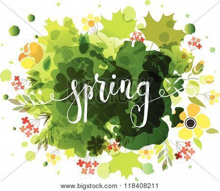 Hand Sketched Spring Text As Logotype, Badge And Icon On Watercolor Background