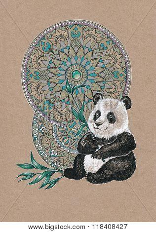 Bear Panda On A Background Of Mandalas