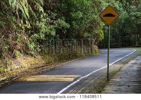 Road with a speed bump sign
