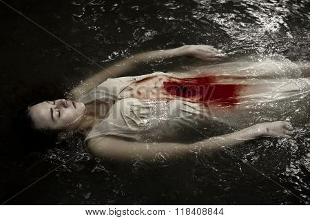 Dead Girl Floating In The River In Dress, Knife Wound, Blood, Water, Cold, Silence, Dead Woman