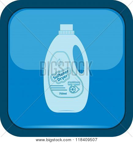 Softener dryer icon on a blue button vector illustration