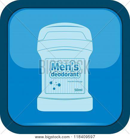 Male deodorant stick icon on a blue button vector illustration