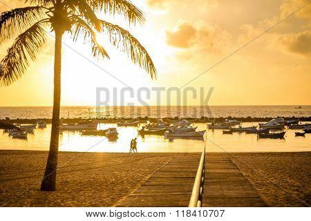 Sunrise view on Teresitas beach
