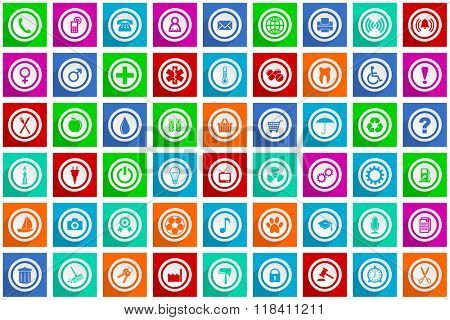 colorful business, internet, media web icons set-  flat design