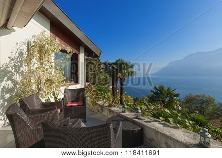 veranda of a mountain home, exterior view