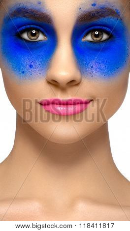 Makeup And Beauty Theme: Portrait Of A Beautiful Young Sexy Girl With Big Beautiful Eyes, Blue Shado