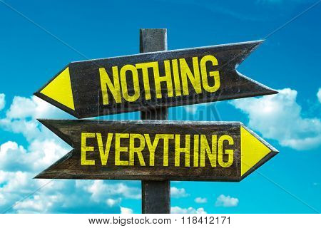 Nothing - Everything signpost with sky background