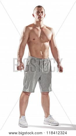 Muscular Bodybuilder Stay Isolated On White Background