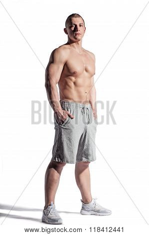 Brutal Muscular Topless Man Isolated On White Background