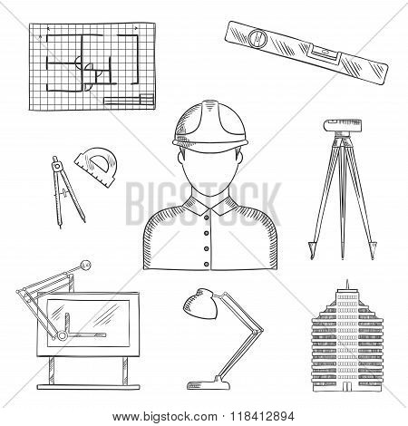 Architect and engineer profession icons